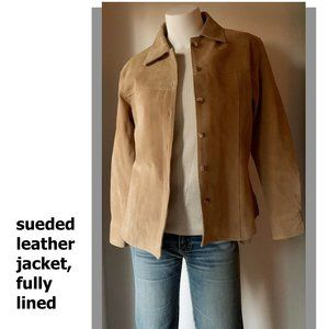 Suede tailored shirt style leather jacket